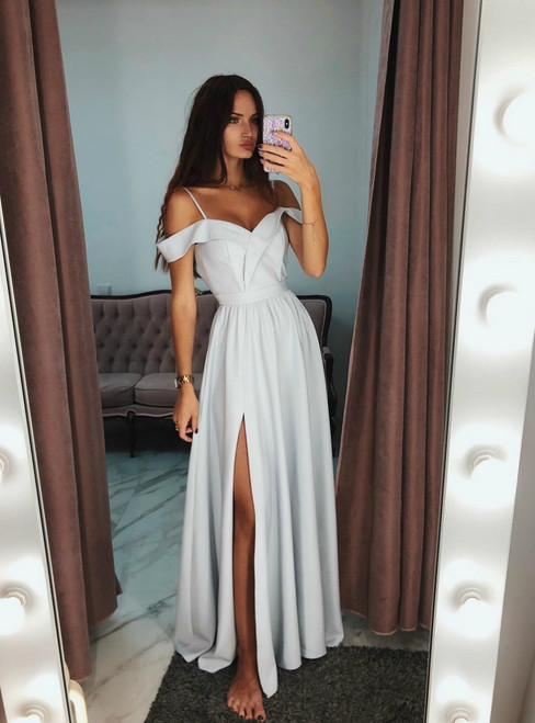A-Line Off The Shoulder Gray Long Prom Dress With Side Split