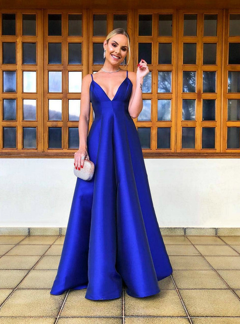 A-Line V Neck Royal Blue Backless Long Floor Length Prom Dress