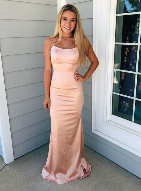 Cheap Pink Mermaid Lace Up Back Long Prom Dress With Train