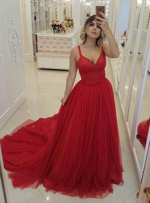 Red Spaghettis Traps Deep V-neck Tulle Backless Prom Dress