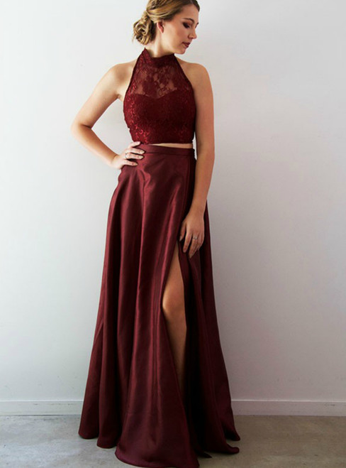 A-Line Burgundy Two Piece Lace Halter Prom Dress With Split Side