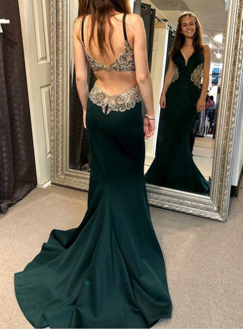 A-Line V-neck Backless Green Satin Prom Dress With Appliques Beading