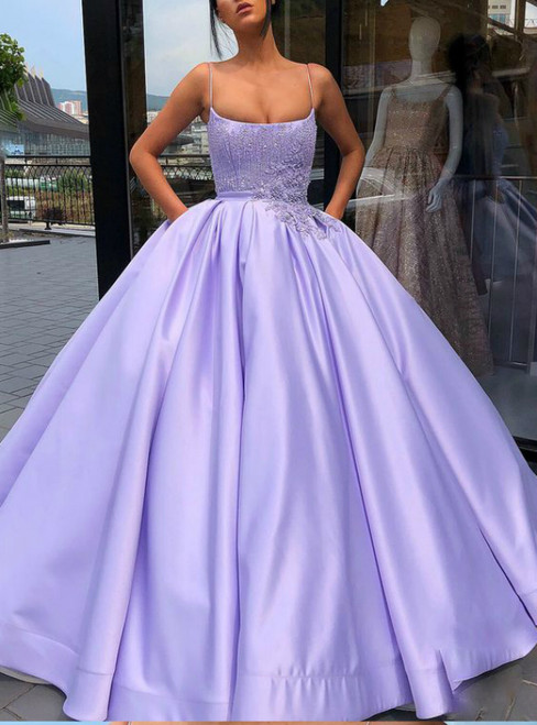 Purple Ball Gown Spaghetti Straps Satin Appliques Sweet 16 Dress With Pocket