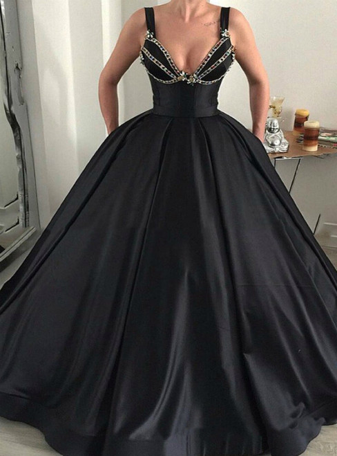 Sexy Black Ball Gown Straps Satin Crystal Prom Dress With Pocket
