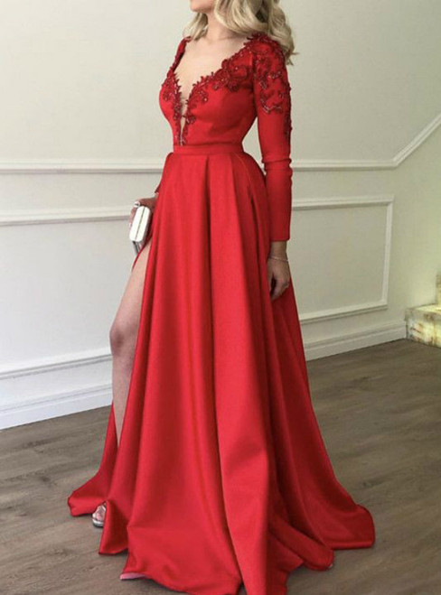 759358ae5ff Red Satin Deep V-neck Long Sleeve Appliques Prom Dress With Side Split
