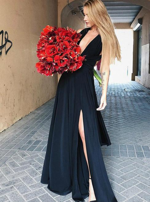 A-Line Black Deep V-Neck Open Back Long Prom Dress With Side Split