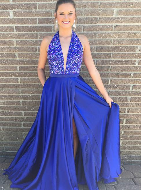 V-Neck Royal Blue Satin Long Beading Prom Dress With Side Split Pocket