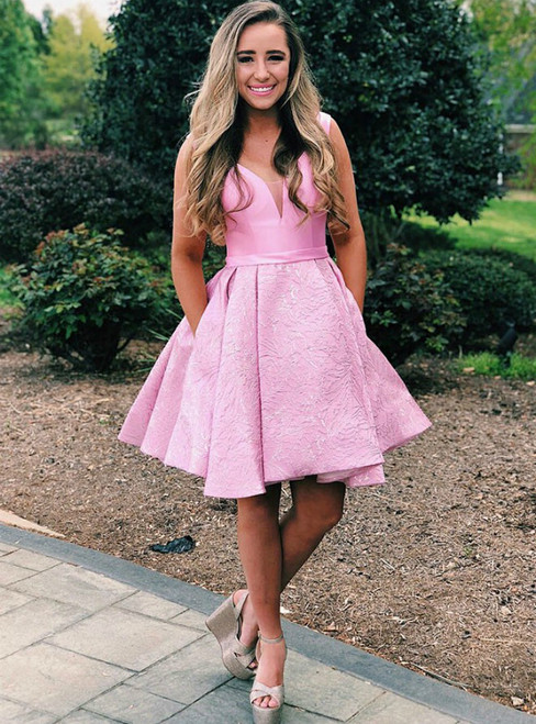 Pink V-Neck Pleated Satin Short Homecoming Dress With Pockets