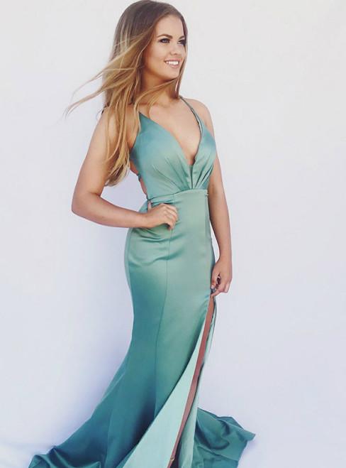 Turquoise Mermaid V-Neck Satin Prom Dress With Side Split