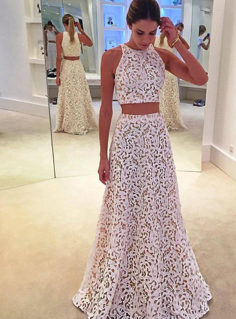 White Lace Prom Dress Two Piece Sleeveless Prom Dress