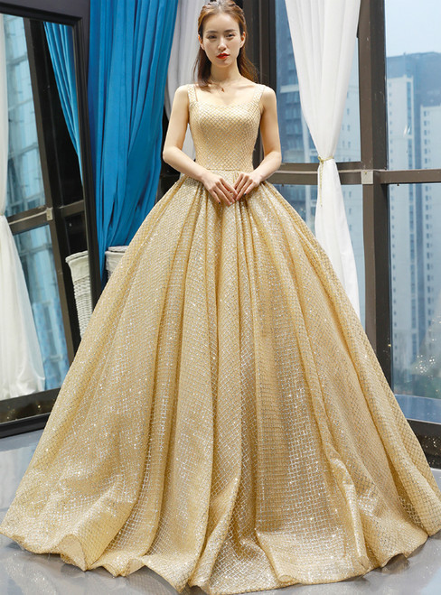 Gold Ball Gown Sequins Straps Floor Length Sweet 16 Prom Dress 25506d66a