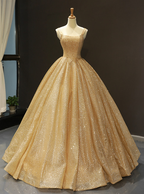 Gold Ball Gown Sequins Straps Floor Length Sweet 16 Prom Dress