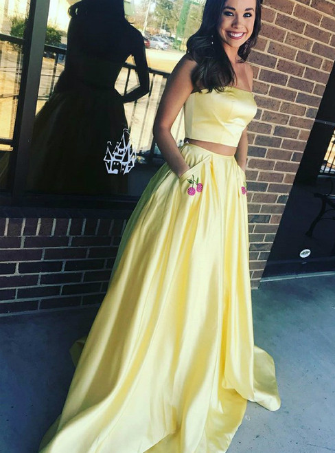 Two Piece Yellow Satin Long Prom Dress With Pockets Appliques