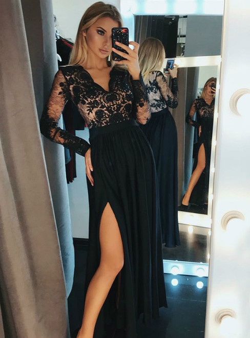 A-Line V-Neck Long Sleeves Black Chiffon Long Prom Dress With Lace