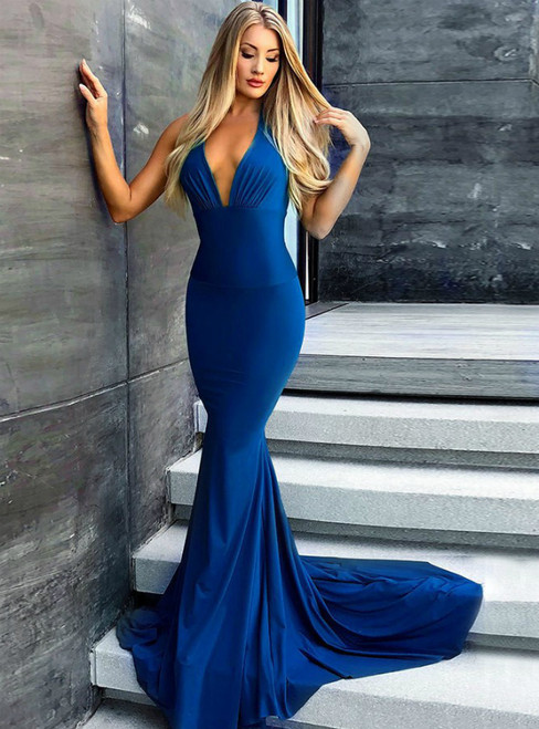 Royal Blue Mermaid V-Neck Backless Satin Long Prom Dress
