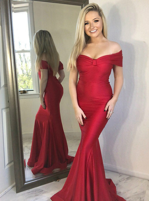 Mermaid Off the Shoulder Long Red Satin Long Prom Party Dress