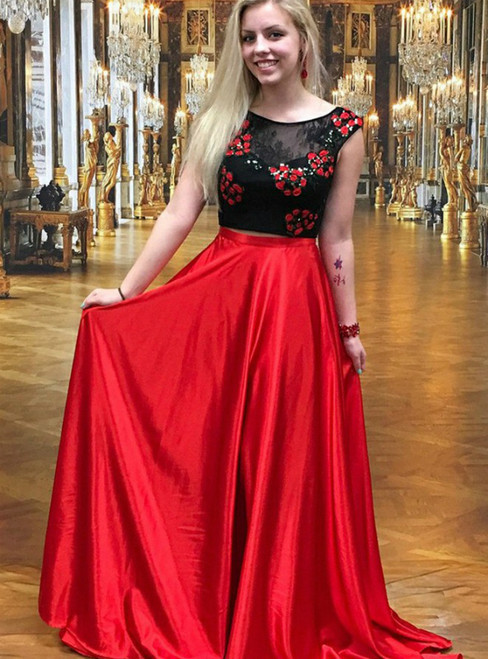 Two Piece Round Neck Red Satin Long Prom Dress With Lace Appliques