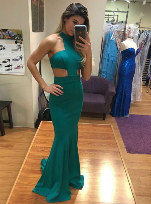 Green Satin Mermaid Jewel Cut-out Halter Long Prom Dress