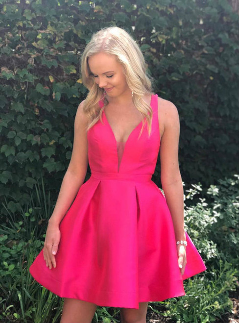 Cheap homecoming dresses 2017 Cute Hot Pink Short Homecoming Dress Party Dress
