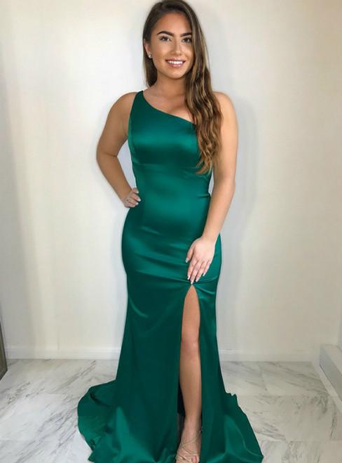 Mermaid Green Satin One Shoulder Open Back Prom Dress With Side Split