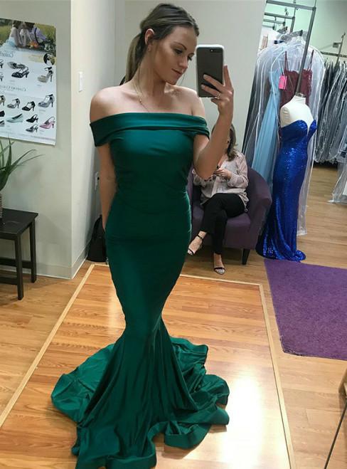 Green Mermaid Satin Off The Shoulder Long Prom Dress