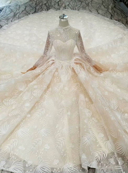 Champagne Ball Gown Tulle Lace High Neck Long Sleeve Wedding Dress With Beading