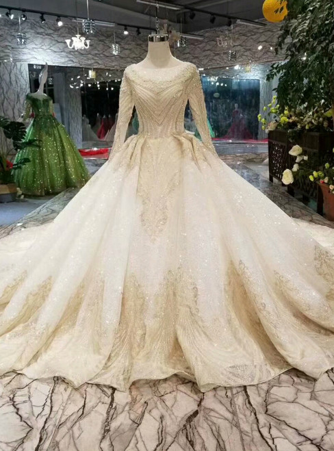 Champagne Ball Gown Tulle Sequins Long Sleeve Appliques Wedding Dress With Beading