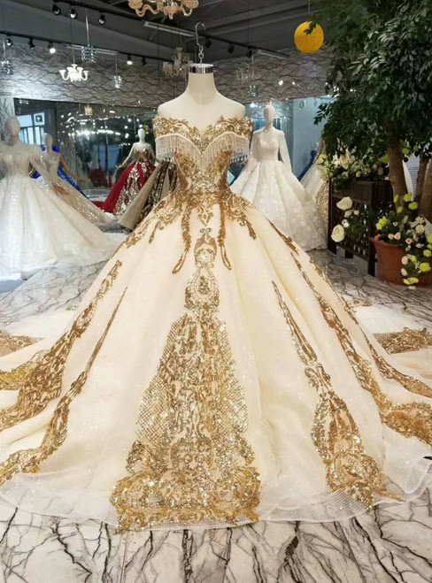 Champagne Ball Gown Sequins Gold Sequins Appliques Off the Shoulder Wedding Dress