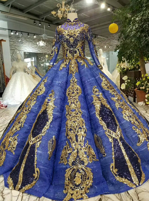 Blue Ball Gown Gold Sequins Appliques High Neck Long SLeeve Wedding Dress