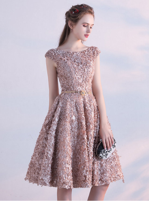 Champagne Lace Cap Sleeve With Sash Homecoming Dress