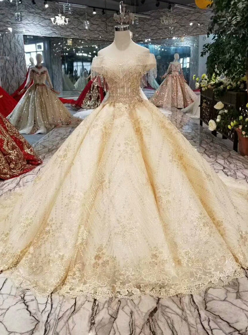 Champagne Ball Gown Lace Off The Shoulder Wedding Dress With Beading