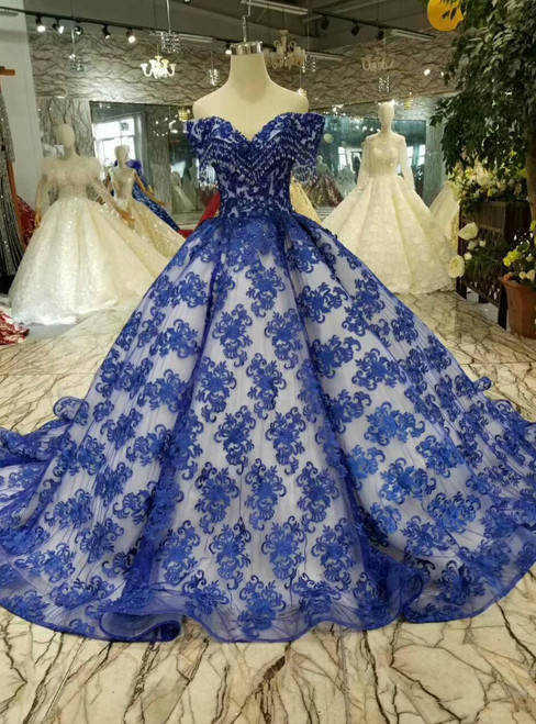 Blue Lace Ball Gown Off The Shoulder Wedding Dress With Beading