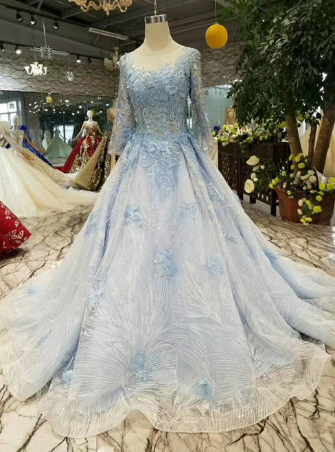 Blue Tulle Sequins Long Sleeve Appliques Wedding Dress With Beading