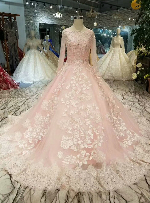 Pink Ball Gown Tulle Long Sleeve Lace Appliques Wedding Dress With Beading