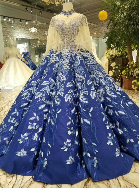Blue Ball Gown Appliques High Neck Cap Sleeve Wedding Dress With Beading