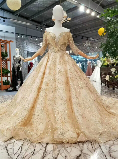 Champagne Gold Tulle Sequins Off The Shoulder Beading Wedding Dress