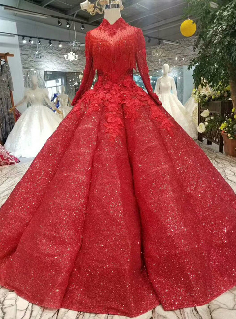 Red Ball Gown High Neck Long Sleeve Appliques Floor Length Wedding Dress