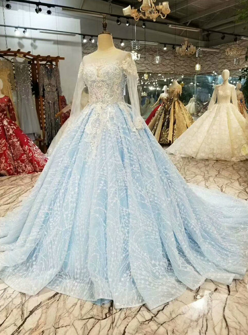 Blue Ball Gown Tulle Sequins Bling Bling Lace Appliques Long Sleeve Wedding Dress