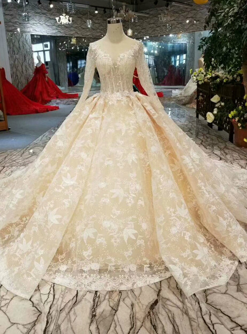 Champagne Ball Gown Lace V-neck Long Sleeve Appliques Wedding Dress With Beading