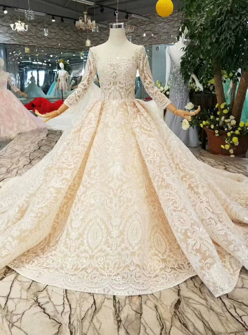 Champagne Ball Gown Lace Sequins Square Long Sleeve Wedding Dress