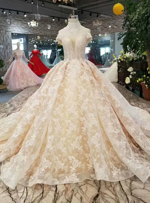 Champagne Ball Gown Lace Appliques Off The Shoulder Wedding Dress With Beading