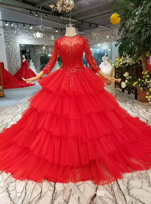 Red Ball Gown Tulle Long Sleeve Appliques Wedding Dress With Beading