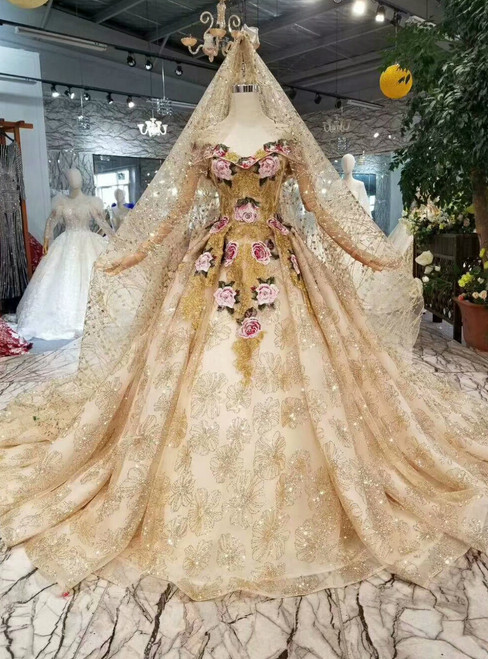 Champagne Gold Tulle Sequins Embroidery Off The Shoulder Wedding Dress With Long Train