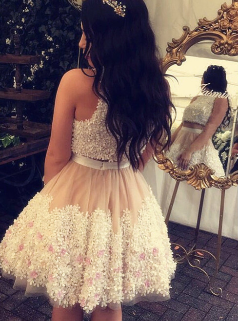Champagne Tulle Wite Floral Lace Two Piece Homecoming Dress