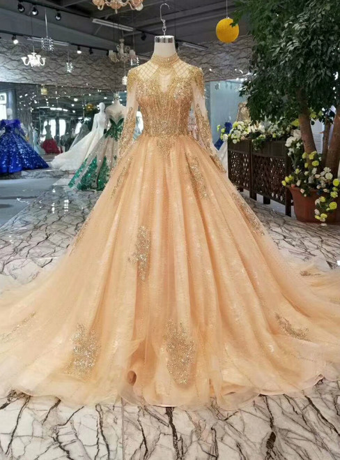 Champagne Tulle High Neck Long Sleeve Backless Weding Dress With Beading