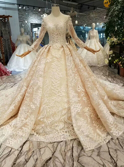 Champagne Ball Gown Lace Sequins Long Sleeve Wedding Dress With Train