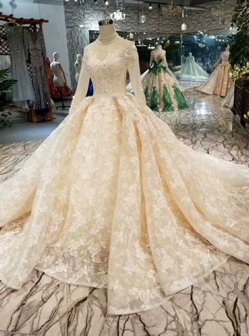 Champagne Ball Gown Lace Tulle High Neck Long SLeeve Appliques Wedding Dress