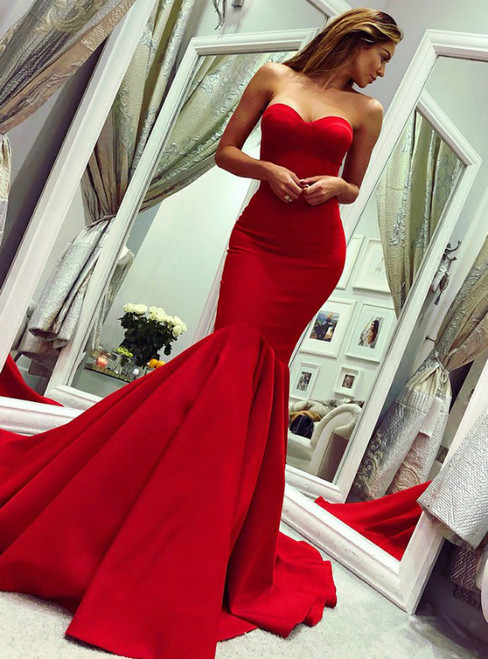 Red Mermaid Satin Sweetheart Backless Long Prom Dress