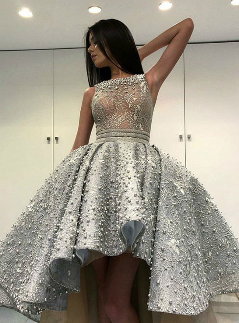 Gray Ball Gown Lace Hi Lo Scoop Prom Dress With Pearls
