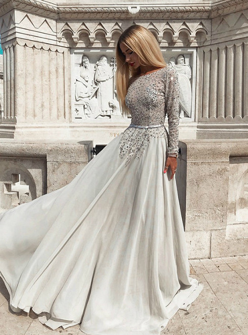 A-Line Gray Chiffon Bateau Long Sleeve Backless Prom Dress With Pearls